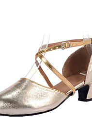 Women's Dance Shoes Sandals LeatheretteLow Heel Gold/Silver