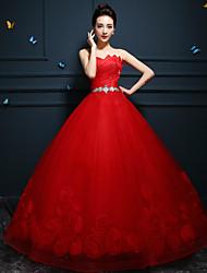 Ball Gown Wedding Dress - Ruby/White Floor-length Sweetheart Tulle