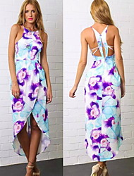 Women's Dresses , Cotton Blend Sexy/Casual/Print/Party Sleeveless summer