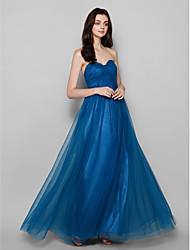 Floor-length Tulle Bridesmaid Dress - Dark Navy Sheath/Column Strapless