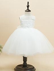 A-line Knee-length Flower Girl Dress - Cotton/Tulle/Polyester Sleeveless