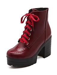 Zapatos de mujer Semicuero Tacón Robusto Punta Redonda Botas Casual Negro/Marrón/Rojo
