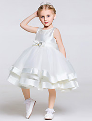 A-Line Knee Length Flower Girl Dress - Polyester Tulle Sleeveless Jewel Neck with Ribbon