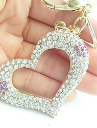 Honey Love Heart Key Chain With Clear & Purple Rhinestone Crystals