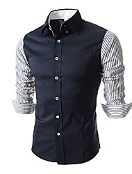 Men's Long Sleeve Shirt , Cotton Casual/Formal Striped