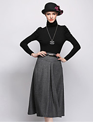 New Autumn Winter Long Woolen Skirt Big Yards Fashion Thick Winter Long Skirt Retro A-line Skirt HNZ0806