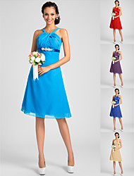 Homecoming Bridesmaid Dress Knee Length Chiffon A Line Straps Dress