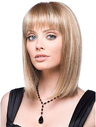 Women Lady Medium Length Synthetic Hair Wigs Blonde Mix