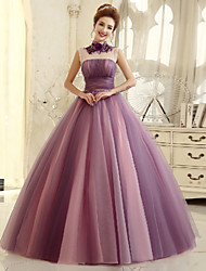 Formal Evening Dress - Multi-color Ball Gown High Neck Floor-length Tulle