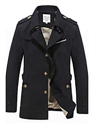 Men's Solid Casual / Work / Formal Trench coat,Cotton Long Sleeve-Black / Green / Yellow / Beige / Tan