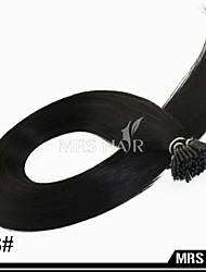 """20 """"1b # kalte Fusion i Spitze brasilianische remy Menschenhaarverlängerungen natürliche schwarze Farbe kleben menschliches Haar 0,8 g /"""