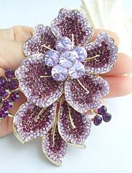 Gorgeous 3.54 Inch Gold-tone Purple Rhinestone Crystal Flower Brooch Art Decorations