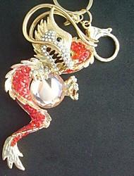 bolsa chaveiro dragão encantador com vermelho&cristais de strass claras