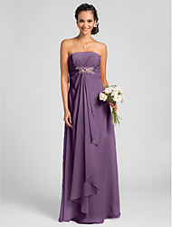 Lanting Bride Floor-length Chiffon Bridesmaid Dress Sheath / Column Strapless Plus Size / Petite withDraping / Crystal Brooch / Criss