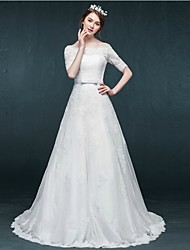 A-line Wedding Dress - White Court Train Bateau Tulle