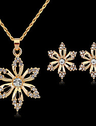 May Polly  Hot fashion Rhinestone Purple Gold Flower Necklace Earrings Set