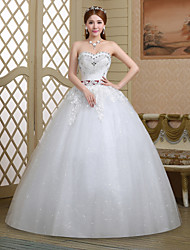 Ball Gown Wedding Dress - White Floor-length Sweetheart Lace/Tulle