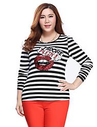 Prettyshow 2015 autumn new arrival women big size XL-5XL O-neck slimming striped blouse & shirt clothes QA3TT0125