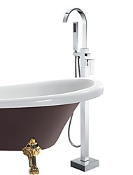 Modern Single Handle Solid Brass Floor Standing Tub Shower Faucet with Hand Shower