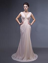 Dress - Pearl Pink Trumpet/Mermaid V-neck Sweep/Brush Train Chiffon