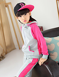 Girl's Cotton/Polyester Long Sleeve Sports Clothing Set