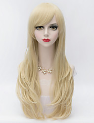 Harajuku Lolita  Long Layered Curly Hair With Side Bang Light Blonde Heat-resistant Synthetic Women Wig