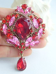 3.54 Inch Gold-tone Red Pink Rhinestone Crystal Drop Flower Brooch Pendant Art Deco