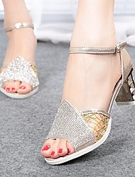 2015 New Fashion Hot Sale Women's Shoes Chunky Heel Peep Toe/Comfort Sandals Party & Evening/Dress Silver/Gold