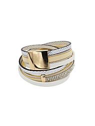 Dame Læder Armbånd Wrap Armbånd Unikt design Mode luksus smykker Læder Rhinsten Flannel Imitation Diamond Legering Smykker Beige Lys pink
