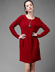 Women's Casual Solid A Line Dress , Round Neck Above Knee Cotton Blends