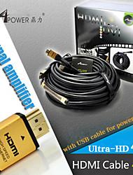 40 mètres câble HDMI avec puce d'amplificateur de signal ic mâle à mâle v1.4 HD 1080p pour hdtv PS4 xbox