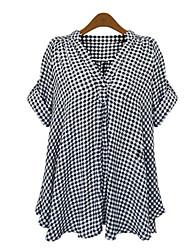 Женский На каждый день Осень Рубашка Глубокий V-образный вырез,Простое Шахматка Черный С короткими рукавами,Полиэстер