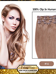 "18 ""7pcs goudblonde (# 16) klem in remy human hair extensions"