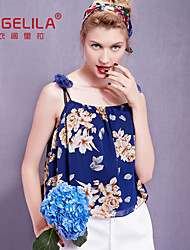 2015 yigelila 7278 latest style fashion woman tops sexy spaghetti strap backless top appliques print halter top