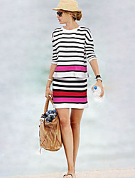 Women's Striped White Dress , Casual Long Sleeve