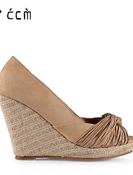 Women's Shoes Knit Wedge Heel Wedges/Peep Toe/Platform Sandals Party & Evening/Casual Khaki Shoes