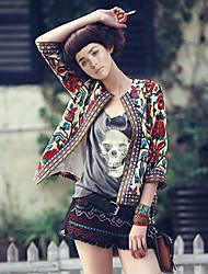 Women's Fashion Vintage Casual Work Print ¾ Sleeve Jacket Coat