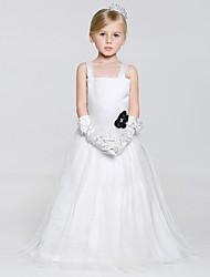 A-line Floor-length Flower Girl Dress - Tulle/Polyester Sleeveless