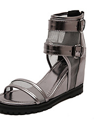 Women's Shoes   Wedge Heel Open Toe Sandals Casual Black/Silver