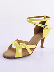 Women's Yellow Patent Leather Upper Latin/Salsa Dance Shoes Stiletto Heel
