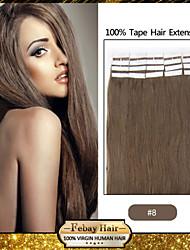 20pcs / pack 1.5-2g / pc extensão do cabelo humano fita virgem # 8 de fita em extensões de cabelo humano 004