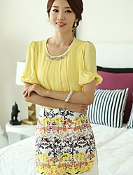 Women's Solid Yellow Blouse , Round Neck Short Sleeve Beaded