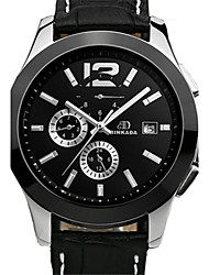 BINKADA Men's Round Dial Leather Band Automatic Mechanical Wrist Watch