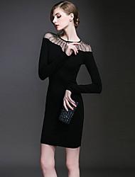Women's Black Dress , Sexy/Bodycon Round Neck Long Sleeve