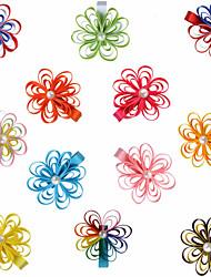 12 Pcs Hair Bows Loop Grosgrain Ribbon Mix Color Hair Clips Boutique Hairbows Headwear Accessories Party Favors AC020