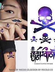 10 Pcs Purple Skull Pattern Temp Tattoo Stickers