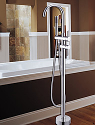 Contemporary Tub And Shower Handshower Included / Floor Standing with  Ceramic Valve Single Handle One Hole for  Chrome , Shower Faucet /