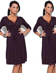 Robes ( Coton mélangé ) Informel/Imprimé Col V à Manche 3/4 pour Femme