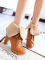 Women's Shoes Black/Yellow/Almond Chunky Heel 6-9cm Boots (PU)