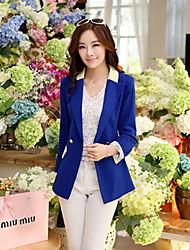 Women's ¾ Sleeve Blazer , Cotton Blends Regular Casual/Party/Work